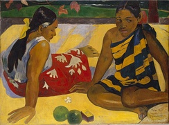 Painting of Two Women of Tahiti by Paul Gauguin