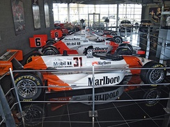 Penske and Dallara Indy cars on display at the Penske Racing Museum in Scottsdale, Arizona.