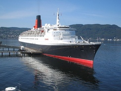Queen Elizabeth 2 of 1969 (70,300 GRT) at Trondheim, Norway, in 2008