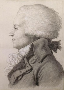 "Portrait of Robespierre (1792) by Jean-Baptist Fouquet. By using a physiognotrace a ""grand trait"" was produced within a few minutes. This life-size drawing on pink paper was completed by Fouquet.[113]"