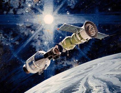 The 1975 Apollo-Soyuz space rendez-vous, one of the attempts at cooperation between the US and the USSR during the détente.