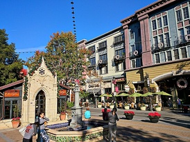 Santana Row Park is home to the 19th-century Neo-Gothic façade of a chapel from Montpellier, France.