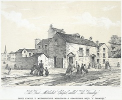 "The first Methodist chapel called ""The Foundery"". Lithograph by  H. Humphreys, c. 1865."