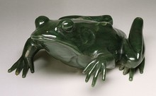 Carved frog for display at the Exposition Universelle (1900) in Paris