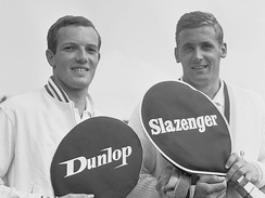 Dutch tennis players Tom Okker and Jan Hajer pose with Dunlop and Slazenger rackets in 1964