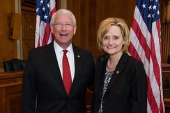 U.S. Senator Roger F. Wicker meets with U.S. Senator Cindy Hyde-Smith of Mississippi in the Dirksen Senate Office building.