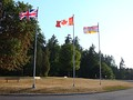 The Royal Union Flag alongside the flag of Canada and the flag of British Columbia, at Stanley Park in Vancouver.