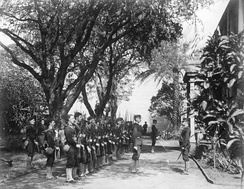 USS Boston's landing force on duty at the Arlington Hotel, Honolulu, at the time of the overthrow, January 1893.[35]