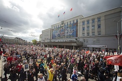 Local residents in Kaliningrad at «Immortal regiment», carrying portraits of their ancestors who fought in World War II