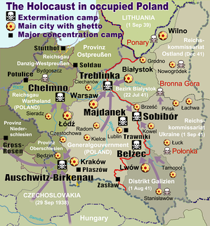 Treblinka on the map of occupied Poland with Nazi extermination camps marked with black and white skulls. General Government territory: centre. Distrikt Galizien: lower–right. Provinz Oberschlesien with Auschwitz: lower–left. The Nazi-Soviet demarcation line splitting the Second Republic in two is marked in red – starting point for Operation Barbarossa of 1941.