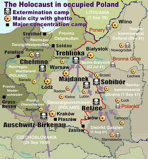 map of the Holocaust in Poland