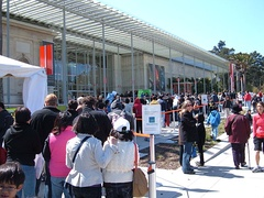 Visitor line on a monthly free admission day