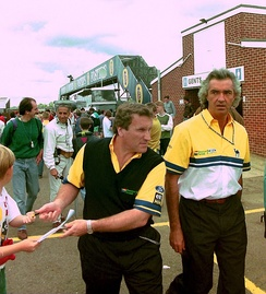 Briatore (right) with Tom Walkinshaw at the 1993 British Grand Prix