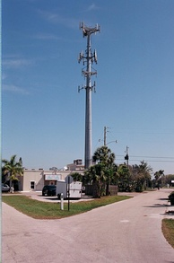 Wireless communication tower, cell site