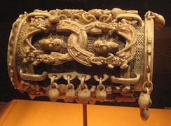 Intricately carved ivory bracelet from the Yoruba people of Owo