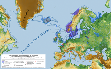 Exploration and expansion routes of Norsemen