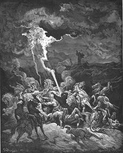 Elijah destroying the messengers of Ahaziah (illustration by Gustave Doré from the 1866 La Sainte Bible)