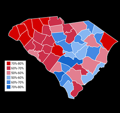 Map showing the results of the 2014 South Carolina Secretary of State general election by county.
