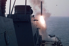 The USS Laboon fires a Tomahawk missile at Iraq in September 1996.