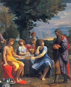 Three angels hosted by Abraham, Ludovico Carracci (1555–1619), Bologna, Pinacoteca Nazionale.