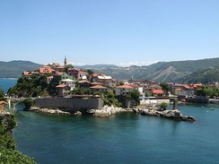 Amasra, Turkey, is located on a small island in the Black Sea