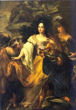 Anna Maria Luisa de' Medici, the last of the Grand Ducal line, in Minerva, Merkur und Plutus huldigen der Kurfürstin Anna Maria Luisa de' Medici (English: Minerva, Mercury and Pluto pay homage to the Electress Anna Maria Luisa de' Medici) after Antonio Bellucci, 1706