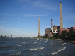 A coal-fired power plant in Avon Lake, Ohio located on Lake Erie