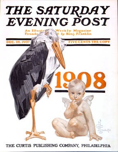 1908 Baby New Year on the cover of The Saturday Evening Post.