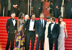 Bardem with co-stars for the film Biutiful at Cannes 2010