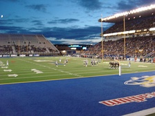 The now demolished Canad Inns Stadium, with end zone stands added for the 94th Grey Cup game.