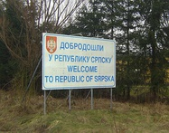 Welcome sign on the border with the Federation of Bosnia and Herzegovina