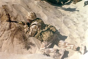 A British soldier during Operation Desert Shield