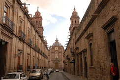 Street in the historic center of Morelia. Mexico has historical architecture in most of its towns being the country with the highest number of Colonial buildings and structures in all of the Americas and also placing a vast number of Pre-colonial monuments.