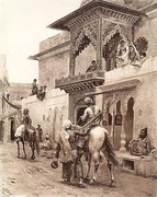 Cashmere Travellers in a Street of Delhi by Edwin Lord Weeks 1880