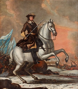 Charles XI at the Battle of Lund in 1676. Painting by David Klöcker Ehrenstrahl.