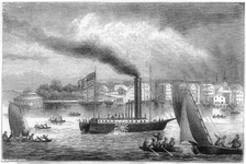 Fulton's North River Steamboat on the Hudson.