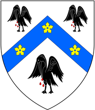 "New arms granted circa 1544 to Thomas Cranmer by King Henry VIII, in lieu of his paternal arms:Argent, on a chevron azure between three pelicans sable vulning themselves proper as many cinquefoils or, telling him ""That those birds should signify unto him, that he ought to be ready, as the pelican is, to shed his blood for his young ones, brought up in the faith of Christ[3]"