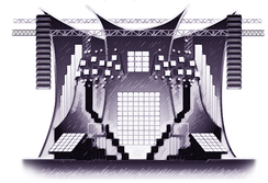 A greyscale line-image of a stage. It is shaped like a 'M' and shows different channels for the lights, video screens and conveyor belts.