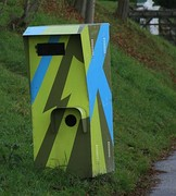 Dazzle camouflaged speed camera as an art project in Loipersdorf, Austria