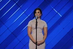 "Demi Lovato appeared during the first night of the convention, raising awareness for mental health and delivering a live performance of ""Confident"".[76]"