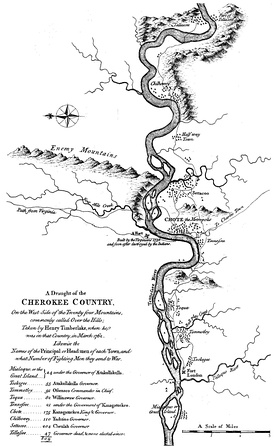 "Henry Timberlake's 1765 ""Draught of the Cherokee Country,"" showing several Cherokee villages located along the lower Little Tennessee River"