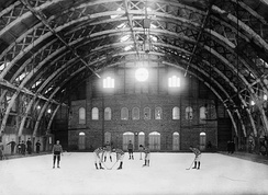 The early Quebec Skating Rink in 1894, representative of early indoor rinks.