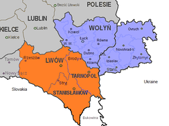 Map of divided Volhynia (blue) between Ukrainian and Polish (Wołyń) part, and Eastern Galicia (orange) in 1939