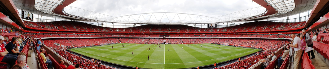 A panorama of the Emirates Stadium