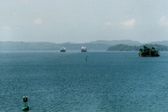 Gatun Lake provides the water used to raise and lower vessels in the Canal, gravity fed into each set of locks