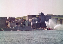 HMCS Athabaskan departing Halifax for the Persian Gulf as part of the Coalition forces. Canada deployed three ships in support of Operation Desert Shield, and later Operation Desert Storm