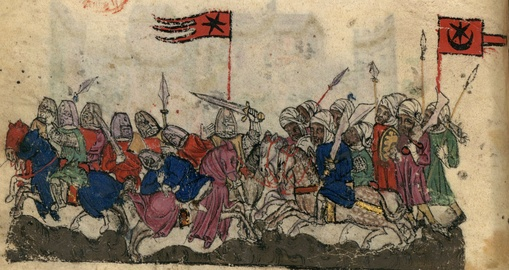 Depiction of a star and crescent flag on the Saracen side in the Battle of Yarmouk (manuscript illustration of the History of the Tatars, Catalan workshop, early 14th century).