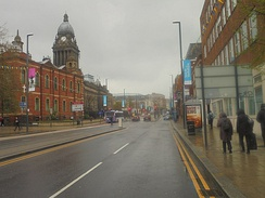 The Headrow from Westgate, including Leeds Town Hall