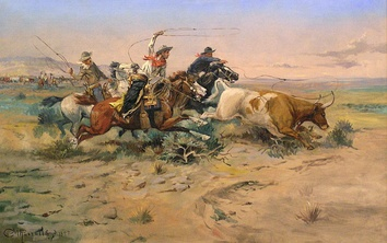 Cowboys portrayed in western art. The Herd Quitter by C.M. Russell