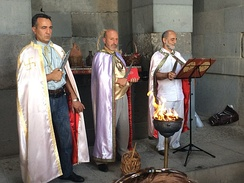Arordiner priests officiating a ceremony at the Temple of Garni.
